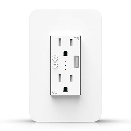 Wifi Smart Wall Outlet Receptacle - Duplex Receptacle Outlet Plug 15 Amp, Tamper Resistant Wall Socket USB Outlet, Compatible with Alexa Google Assistant and IFTTT, No Hub Required