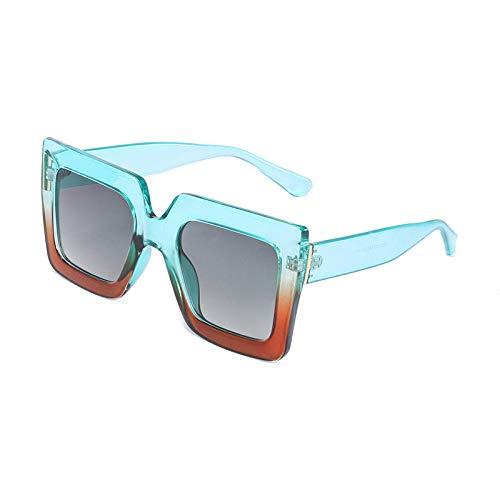 chuanglanja Gafas De Sol Mujer Joven Gafas De Sol Cuadradas Mujer Hombre Diseñador Gafas De Sol Con Montura De Gran Tamaño UV400-Verde