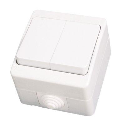 IP54 Schalter Wechselschalter Serienschalter Feuchtraum Aufputz Weiss