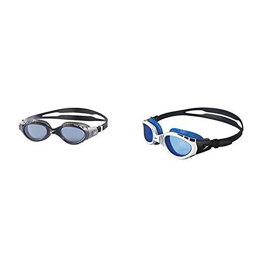 Speedo Futura Biofuse Flexiseal Schwimmbrille, Cool Grey/Black/Smoke, One Size & Futura Biofuse Flexiseal Goggles, weiß, One Size