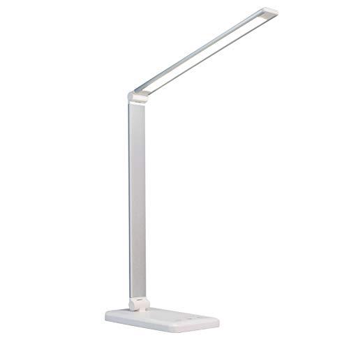 Trendyest Lámpara de escritorio LED, lámpara de mesa regulable, 10 niveles de brillo, 5 modos de iluminación con función de temporizador, protección para los ojos para cargar smartphones