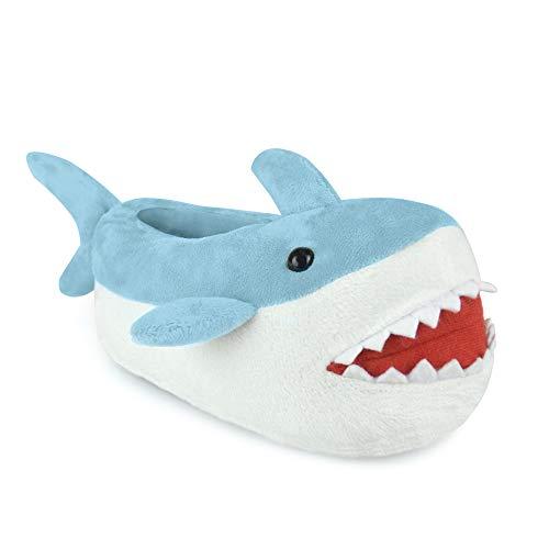 Boys Blue Shark Design Plush Fleece 3D Novelty Slippers in UK Sizes 9-3 (M-11-12)