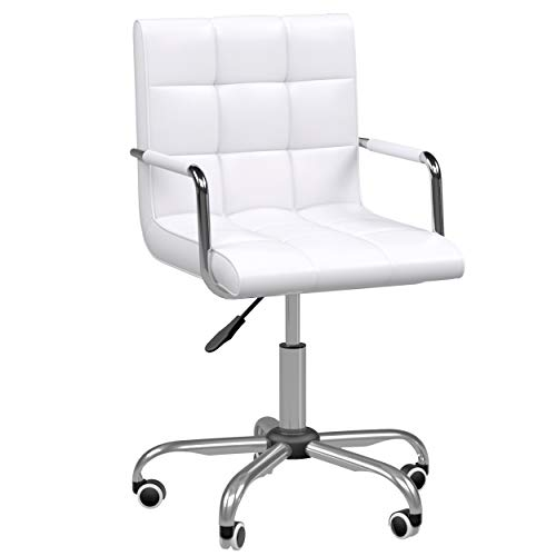 HOMCOM Mid Back PU Leather Home Office Desk Chair Swivel Computer Salon Stool with Arm, Wheels, Height Adjustable, White