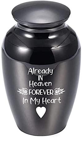 JJPRFO Urnas de cremación Pequeñas urnas de cremación para Cenizas humanas/de Mascotas Urna de Recuerdo Cenizas de Aluminio Recuerdo ala de ángel Corazón Memorial Cenicero Titular -Negro_45x70mm