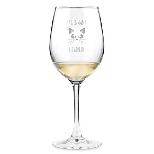 Murrano Weinglas mit Gravur 350 ml - personalisiert - Wein Glas für Rotwein Weißwein - Geschenk Geburtstag für Frauen Freundin - Katzenmama