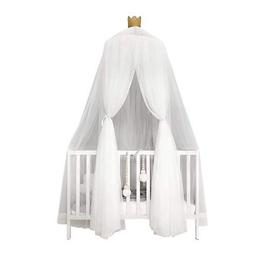 Funkprofi Baby Baldachin Betthimmel, Babybett Chiffon Moskitonetz inkl. Montagematerial, Hängendes Kuppel Mückennetz für Kinderzimmer, Schlafzimmer, Spiel und Lesen Zeit, Baby Insektenschutz (Weiß)