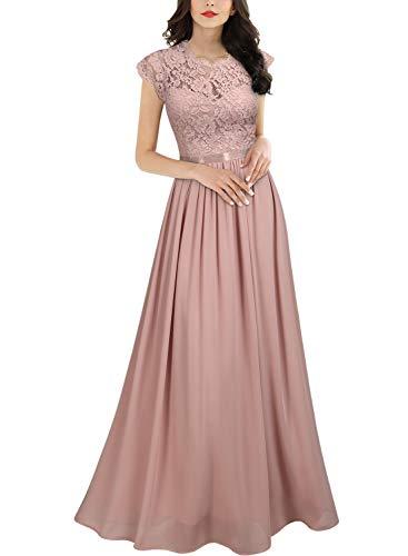 MIUSOL Damen Elegant Ärmellos Rundhals Vintage Herbst Winter Hochzeit Chiffon Faltenrock Langes Kleid Rosa Gr.S