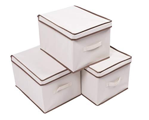 Shinetidy Cubos de Almacenamiento con Tapa Plegable Tela Caja de Almacenamiento Organizador cajón Set de 3