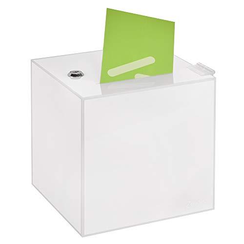 Losbox in 200x200x200mm, aus opalem Acrylglas - Zeigis® / Spendenbox/Aktionsbox/Gewinnspielbox/undurchsichtig/blickdicht/Milchglas/Acryl/abschließbar/versperrbar