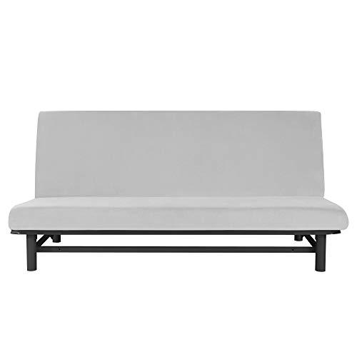 MILARAN Funda de sofá aterciopelada sin mangas, suave y elástica, para sala de estar o dormitorio, funda elástica para futón lavable y extraíble