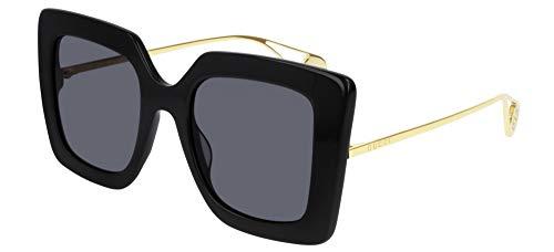 Gucci Unisex – Erwachsene GG0435S-001-51 Sonnenbrille, Schwarz Glänzend-Gold, 51