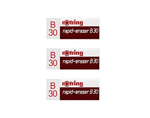 Rotring Rapid B30 - Lote de 3 mini gomas blancas La superficie se limpia sin manchas ni marcas La mejor herramienta para borrar las líneas de lápiz de polímero o grafito de todos los soportes de dibujo. Tamaño compacto de 1,9 x 1,4 x 4,4 cm. No conti...