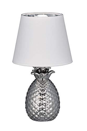 Reality Leuchten Pineapple R50421089 Tischleuchte, Keramik, Stoffschirm Weiß / Silberfarben