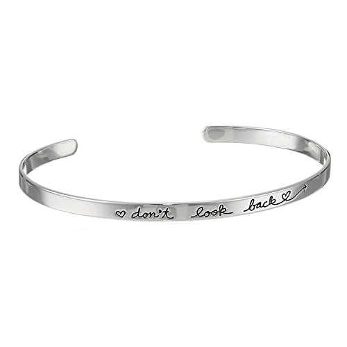 Qiuday Armreif Spruch - Damen Schmuck - Verstellbar, Edelstahl - Armband mit Gravur Lieblingsmensch - Gold, Rosegold Silber Frauen Stulpearmband Schmuck Brief Armband