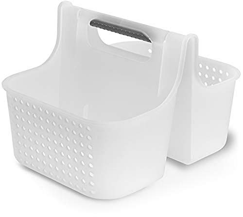 madesmart Large Soft Grip Tote - Frost, Grey | BATH COLLECTION | 2-Compartments | Thick Handle for Carry-comfort | Multi-purpose Bath, Beauty or Cleaning Supply Storage | BPA-Free