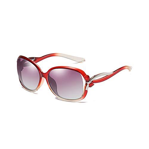 GEBZSM Gafas de sol polarizadas de gran tamaño para mujer, lentes polarizadas, lentes de conducción de alta definición, protección UV400, estilo retro, modelo 2229, color Rojo, talla Talla única