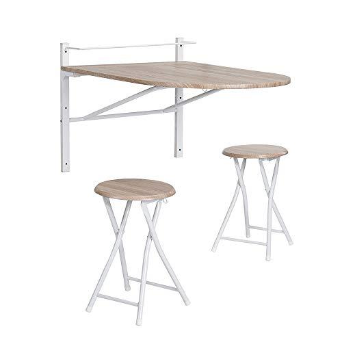 Homy Casa Set Wandtisch und 2 Klappstühle - Skandinavisch - für Wohnzimmer Küche - MDF und Metall