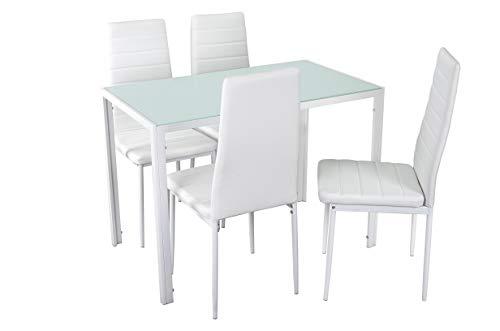 Noorsk Design Conjunto de Mesa de Cocina 105x60 + 4 sillas Clasik (Sillas Blancas) ⭐