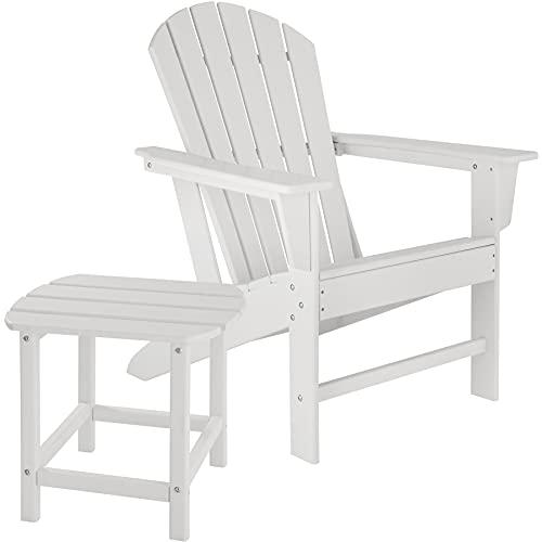 tectake 800908 Adirondack Gartenstuhl mit Beistelltisch, Holzoptik, Gartensessel mit Breiten Armlehnen und Tisch, für Garten, Terrasse und Balkon, wetterfest (Weiß)