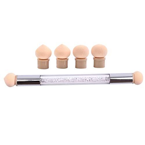 PRENKIN Têtes Doubles éponge Brosse à Ongles Choisir Dotting Gradient Pen Poignée Brillant Outil Beauté Replaceable
