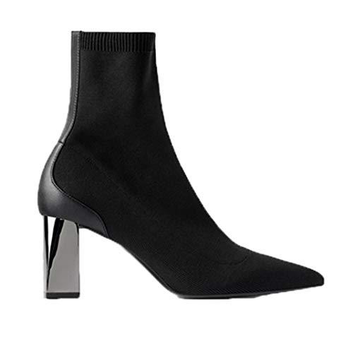 Damen Stiefeletten Frühling Herbst Stretch Baumwolle Kurze Stiefel Hochhackige Socken Stiefel Spitze Zehen High-Top High Heels