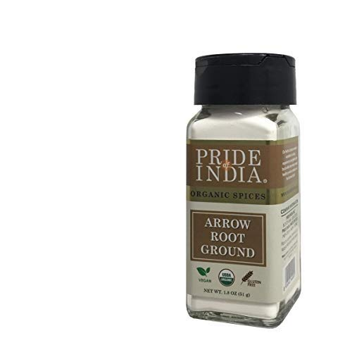 Pride Of India - Organic Arrowroot Ground Powder-2oz (56 gm) Dual Sifter Jar, Authentic Indian Vegan Flour, Best Added in Cakes Pies Sauce