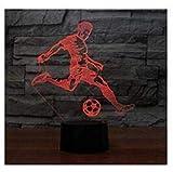 3D joueur de foot LED Lampes Art Déco Lampe la couleur changeant lumières LED, Décoration Décoration Maison Enfants Lumière Touch Control 7 couleurs Change