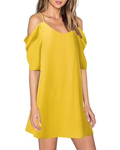 ZANZEA Womens Cold Shoulder Dress Sexy Summer Casual Chiffon Spaghetti Strap Short Beach Sundress 01 Yellow S
