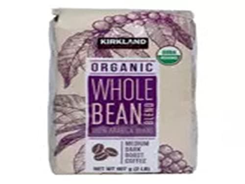 Kirkland Signature Organic Whole Bean Blend 100 % Arabica Beans Net Wt (2 Lb),, 32 Oz
