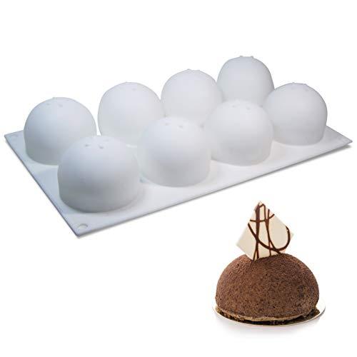 Stampo in silicone a sfera 3D per dolci sferici e dolci, stampo rotondo per torte, per tartufi, cioccolato, gelatina, gelato, bombe ghiaccioli, lecca-lecca, 8 cavità