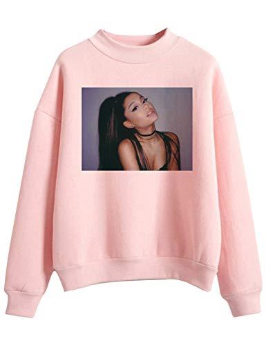 Trend Singer Ariana Grande Felpa per Donna Ragazza,Ariana Grande Thank u, Next Felpa Hoodie Pullover Tinta Unita Maglione Manica Lunga per Donna Ragazza (Rosa,S)