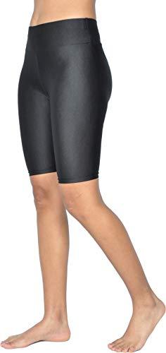 Pantalón Corto de Yoga Deportivo Fitness Mujer Yoga Shorts Cintura Alta Control de Barriga Talla Regulares y Grandes, Negro Y23027 M-L