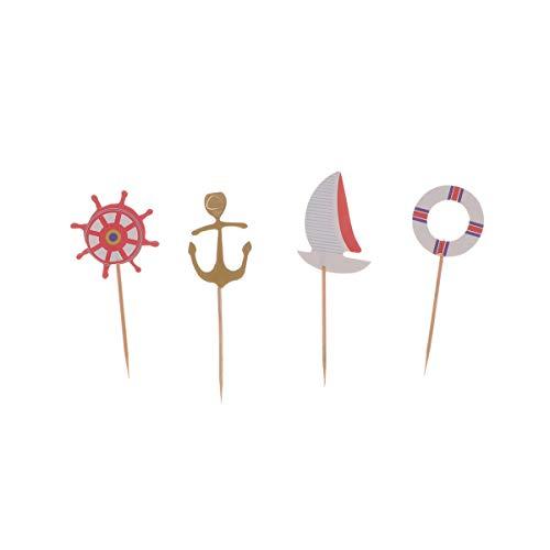 Amosfun 24 stks Nautical Cake Toppers Zeilboot Roer Anker Schip Wiel Cupcake Toppers Picks Marine Stijl Verjaardag Cake Invoegen Decoratie voor Party Favors