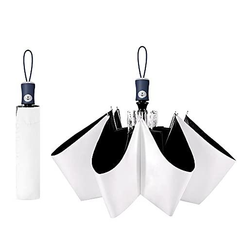 Cuby UV Sun Umbrella Compact Folding Travel Umbrella Auto Open and Close for Windproof, Rainproof & 99.98% UV Protection Parasol with Black Anti-UV Coating (White)