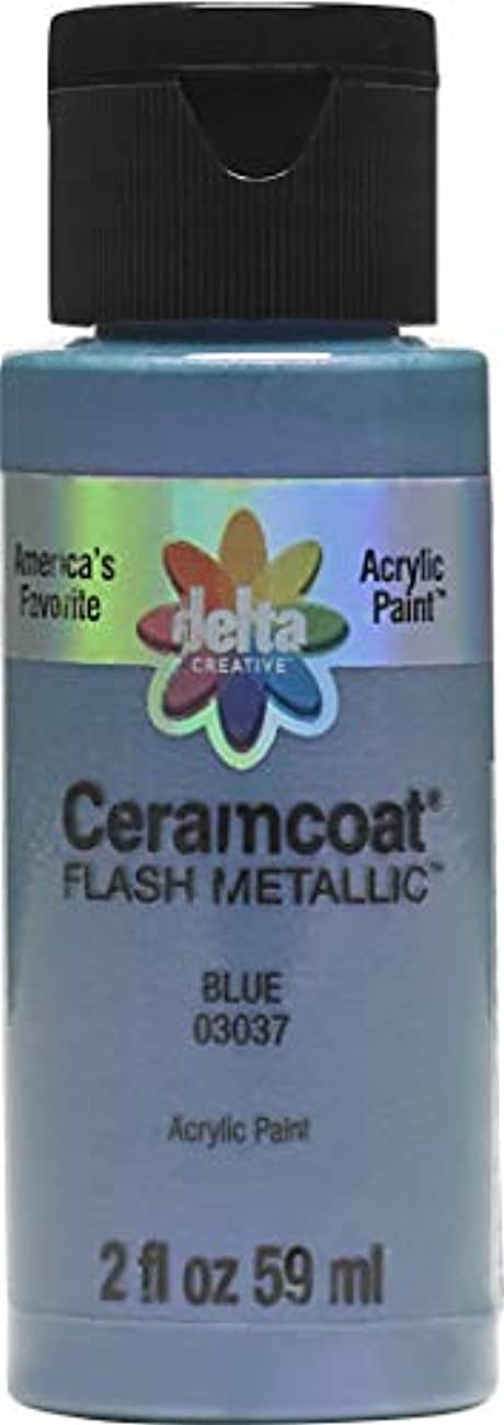 Delta Creative 03037 Ceramcoat Flash Metallic Acrylic Paint, 2 oz, Blue