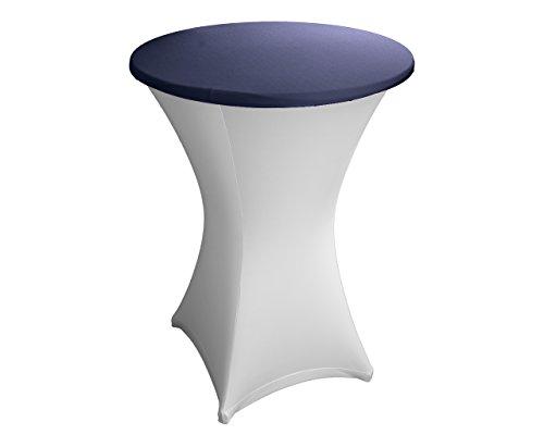 Expand Housse Pour Plateau De Tables Hautes Bleu Marine - Couverture, Revêtement, Nappe Pour Tables Mange-Debout - Ø 75cm-80cm - Stretch