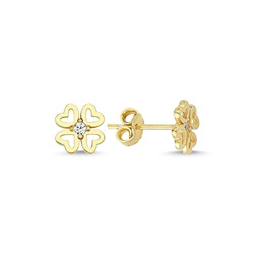 Pendientes de trébol de cuatro hojas de oro de 14 k (585)