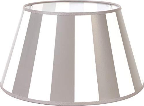 Lampenschirm-rund-konische-Form-hellgrau-weiß- gestreift Ø 20 cm Landhaus-vintage-Stil