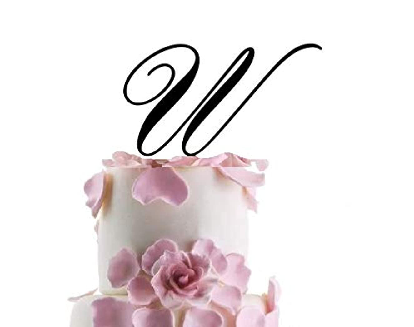 Quality Hand Painted Monogram Letter W Acrylic Cake Topper Wedding Engagement