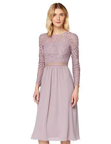 Amazon-Marke: TRUTH & FABLE Damen Midi A-Linien-Kleid aus Spitze, Lila (Qual Lilac), 36, Label:S