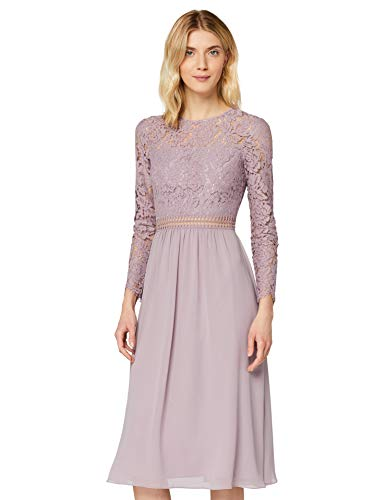 Amazon-Marke: TRUTH & FABLE Damen Midi A-Linien-Kleid aus Spitze, Lila (Qual Lilac), 42, Label:XL