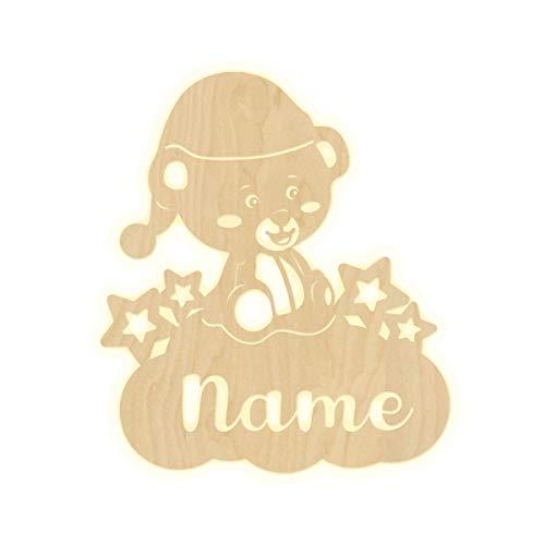 """Wandlampe\""""Wolke Bärchen\"""" Kinderzimmer personalisierte Lampe mit Namen Nachtlicht Leuchte LED Wandleuchte Dekoration Holz Jungen Mädchen Baby Geschenk Set Schlummerlicht"""