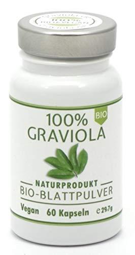 100% BIO GRAVIOLA Blattpulver Kapseln, 60 x 400mg, BIO & VEGAN. Stachelannone, Soursop, Corossol, Guanabana.