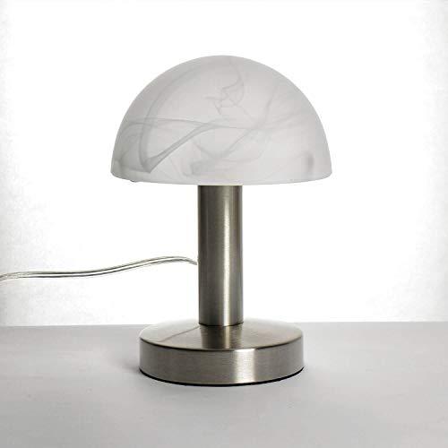 Bauhaus Tischleuchte Touch Dimmer H:21cm rund E14 Glasschirm Pilzlampe Schreibtischlampe