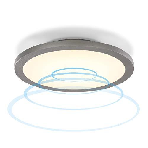 Runde LED Panelleuchte Iris mit 360° Mikrowellen-Bewegungsmelder - als Wandleuchte oder Deckenleuchte - Lichtfarbe warmweiß 3000K - Leistung 15 Watt 1000 lm - Außenleuchte Garten IP65 esotec 201201