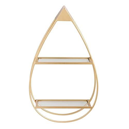 WXQIANG Estante en forma de gota con estantes flotantes de metal para decoración del hogar, sala de estar, dormitorio, baño, oficina, cocina (color: dorado)