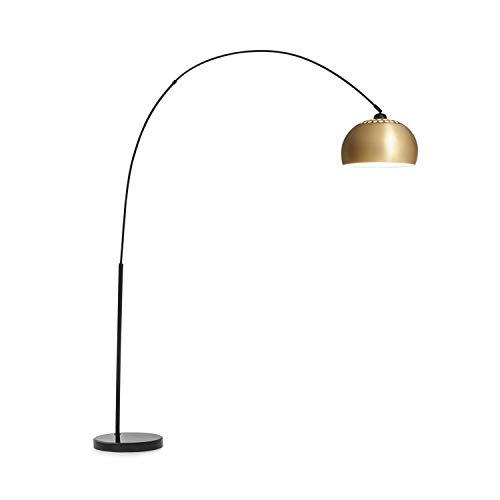 Besoa Amara Lámpara de arco - Lámpara decorativa, Pantalla dorada, Base robusta de mármol negro, Portalámparas E27, Cable de alimentación de 2 m, Negro/ dorado