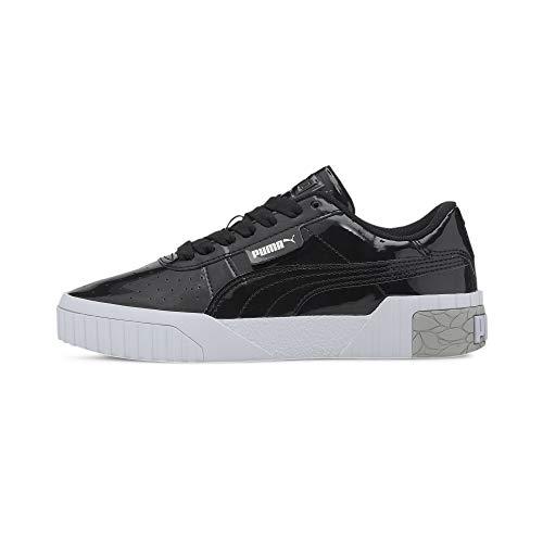 PUMA Cali Patent Jr Sneaker, Black White, 38 EU