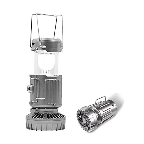 Z-Life Linterna LED Portátil Lámpara para Acampar Al Aire Libre con Ventilador, Carga Solar, Luz Recargable, Lámpara Colgante para Tienda, Linterna De Pescado para Viajes, Senderismo