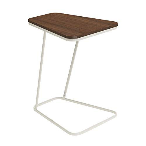 Tables HAIZHEN Pliable Basse Simple Basse en Fer forgé de d'appoint, 61 * 52 * 45cm Stations de Travail informatiques (Couleur : Walnut Color(Wood))